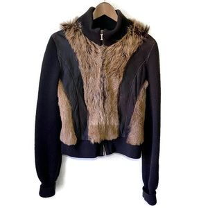 Iceberg Brown Leather And Wool Zip Up Jacket Large